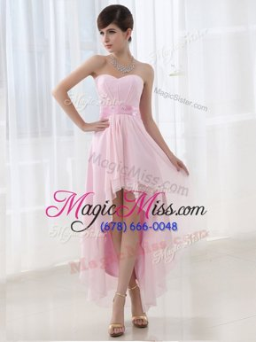 Dramatic Lilac Column/Sheath Sweetheart Sleeveless Chiffon High Low Lace Up Beading Dress for Prom