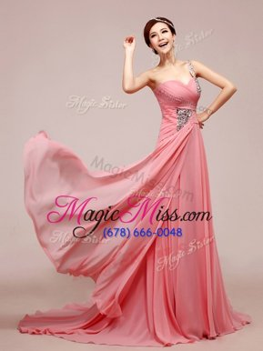 Suitable Pink Sweetheart Neckline Beading and Ruching Evening Dress Sleeveless Zipper