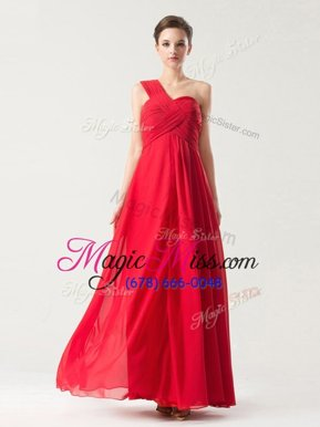 Hot Selling Red Column/Sheath Chiffon One Shoulder Sleeveless Ruching Floor Length Zipper Homecoming Dresses