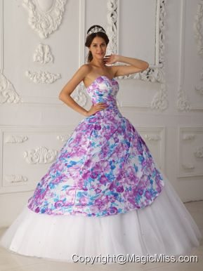 Multi-color A-line Sweetheart Floor-length Tulle Appliques Quinceanera Dress