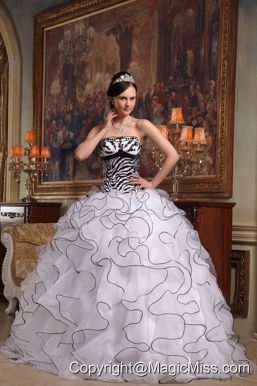 White Ball Gown Strapless Floor-length Ruffles Organza and Zebra Quinceanera Dress