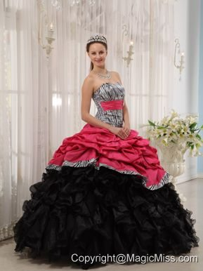 Brand New Red and Black Ball Gown Sweetheart Floor-length Quinceanera Dress