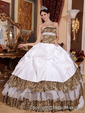 White Ball Gown Strapless Floor-length Leopard Beading Quinceanera Dress