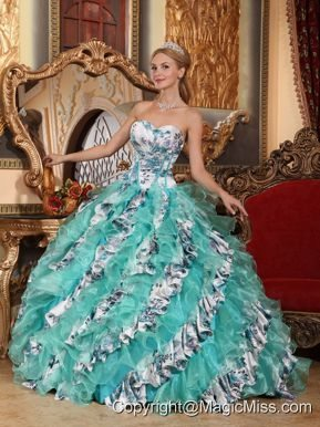Multi-color Ball Gown Sweetheart Floor-length Organza Printing Quinceanera Dress