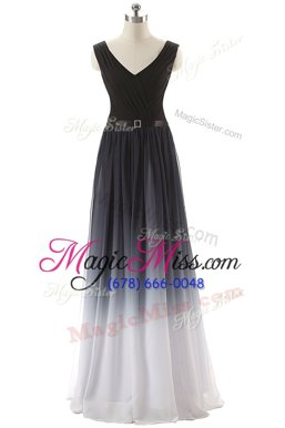 Customized Black Prom Evening Gown Prom and Party and For with Ruching and Belt V-neck Sleeveless Lace Up