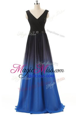 Custom Designed Black Prom Party Dress Prom and Party and For with Beading V-neck Sleeveless Brush Train Lace Up