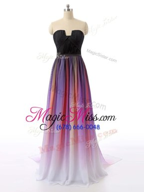 Nice Sweep Train Empire Celebrity Inspired Dress Multi-color Sweetheart Chiffon Sleeveless Zipper