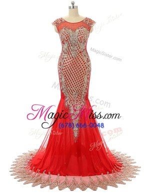 Best Selling Scoop Sleeveless Prom Dresses Brush Train Beading and Lace Red Satin