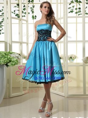 Simple Blue Sleeveless Satin Zipper Hoco Dress for Prom and Party