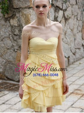 Custom Fit Sleeveless Chiffon Mini Length Zipper Homecoming Dresses in Yellow for with Ruching