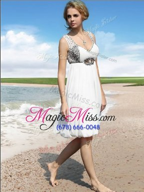 White Evening Dress Prom and Party and For with Beading Straps Sleeveless Zipper