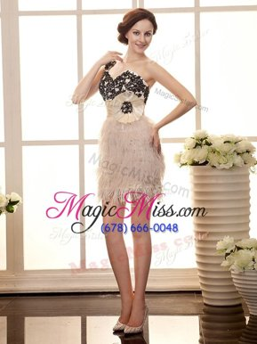 One Shoulder Peach Organza Zipper Cocktail Dresses Sleeveless Mini Length Beading and Appliques