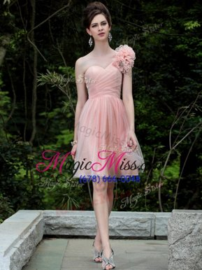 Glorious One Shoulder Knee Length Peach Homecoming Party Dress Tulle Sleeveless Beading and Hand Made Flower