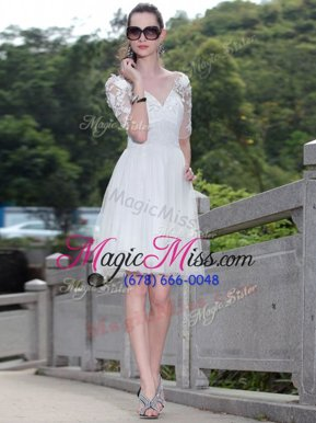 Best White V-neck Zipper Lace Mother Of The Bride Dress Sleeveless