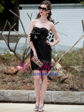 Sumptuous Knee Length Column/Sheath Sleeveless Black Junior Homecoming Dress Backless