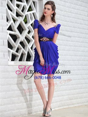 Best Selling Royal Blue Chiffon Zipper Evening Dress Sleeveless Knee Length Beading