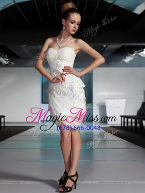 Sweet Sweetheart Sleeveless Chiffon Celebrity Dresses Beading and Ruching Side Zipper