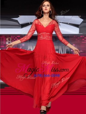 V-neck Sleeveless Zipper Celebrity Evening Dresses Red Chiffon
