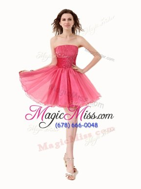 Modest A-line Homecoming Dress Watermelon Red Strapless Organza Sleeveless Knee Length Lace Up