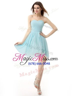 Dynamic Baby Blue A-line Sweetheart Sleeveless Chiffon Knee Length Lace Up Ruching Hoco Dress
