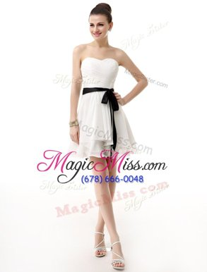 Excellent White Chiffon Lace Up Prom Dress Sleeveless Knee Length Sashes|ribbons