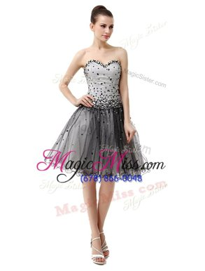 Unique Sweetheart Sleeveless Party Dress for Girls Knee Length Beading and Ruffled Layers and Ruching White And Black Organza