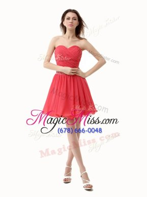 Mini Length A-line Sleeveless Watermelon Red Homecoming Dresses Zipper