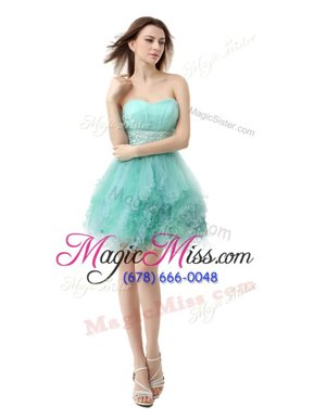 Unique Sweetheart Sleeveless Prom Dresses Mini Length Beading and Ruffled Layers Turquoise Organza