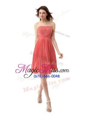 Fashion Coral Red Strapless Zipper Beading and Pleated Homecoming Gowns Sleeveless