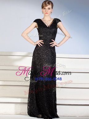 Comfortable Black Column/Sheath Beading and Lace Mother Of The Bride Dress Side Zipper Lace Cap Sleeves With Train