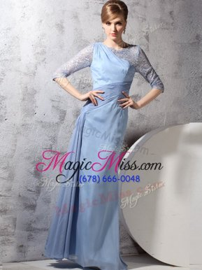 Fine Scoop Half Sleeves Zipper Prom Dress Light Blue Chiffon