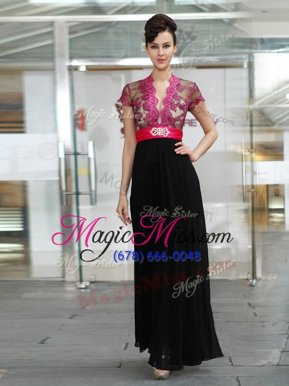 Elegant Black Short Sleeves Chiffon Zipper Mother Of The Bride Dress for Prom and Party