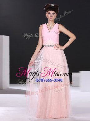 Traditional Pink Side Zipper Junior Homecoming Dress Beading and Ruching Sleeveless Floor Length
