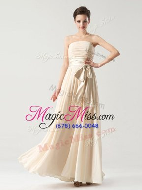 New Style Floor Length Champagne Homecoming Dress Online Strapless Sleeveless Zipper