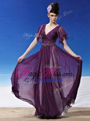 Super Dark Purple Column/Sheath V-neck Short Sleeves Chiffon Ankle Length Side Zipper Beading and Ruching Homecoming Dress