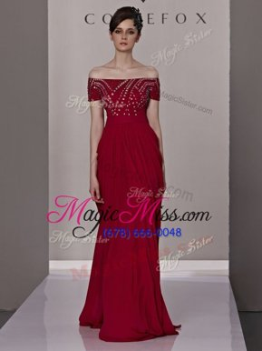 Custom Design Column/Sheath Pageant Dresses Red Off The Shoulder Chiffon Short Sleeves Floor Length Zipper