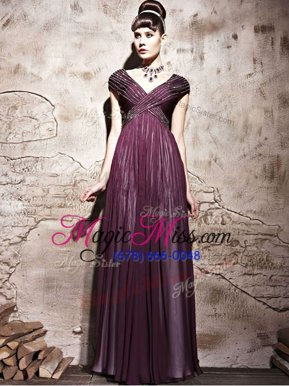 Stunning Burgundy Column/Sheath Chiffon V-neck Cap Sleeves Beading and Ruching Floor Length Side Zipper Going Out Dresses