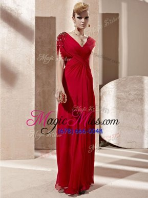 Gorgeous Floor Length Red Military Ball Gowns Organza Short Sleeves Beading and Ruching
