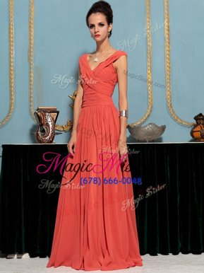 Hot Sale One Shoulder Watermelon Red Sleeveless Floor Length Ruffles Side Zipper Celeb Inspired Gowns