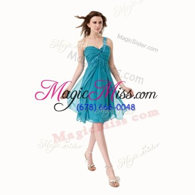New Arrival One Shoulder Sleeveless Side Zipper Homecoming Party Dress Aqua Blue Chiffon