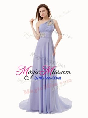 Romantic One Shoulder Chiffon Sleeveless Floor Length Military Ball Gowns Brush Train and Beading