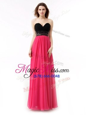 Wonderful Floor Length Red And Black Evening Dresses Chiffon Sleeveless Beading and Ruffles
