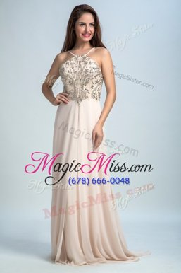 High Class Sequins Empire Evening Gowns Baby Pink Spaghetti Straps Chiffon Sleeveless Floor Length Backless