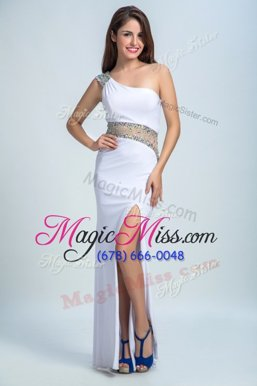 Free and Easy White Formal Evening Gowns Prom and Party and For with Beading One Shoulder Sleeveless Side Zipper