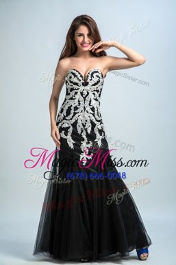 Beauteous Black Column/Sheath Tulle Sweetheart Sleeveless Embroidery Floor Length Zipper Custom Made Pageant Dress