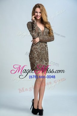 Sequins Column/Sheath Mother Of The Bride Dress Brown V-neck Organza Long Sleeves Mini Length Backless