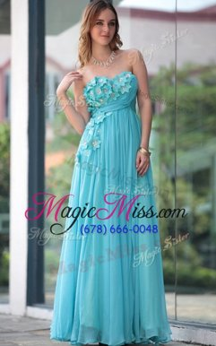 Low Price Chiffon Sleeveless Floor Length Prom Dress and Beading and Hand Made Flower