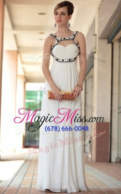 Sleeveless Chiffon Floor Length Side Zipper Celebrity Style Dress in White for with Beading and Ruching
