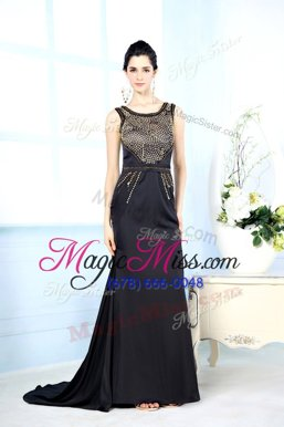 Deluxe Black Sleeveless Floor Length Beading Side Zipper Oscars Dresses