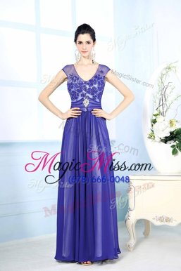 Pretty Column/Sheath Prom Gown Turquoise Scoop Chiffon Sleeveless Floor Length Zipper